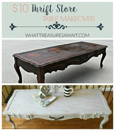 Chalky paint thrift store table makeover
