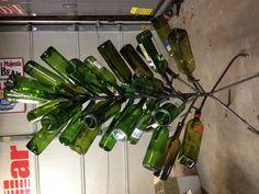 Real tree steel wine bottle tree