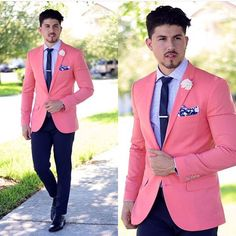 Latest Coat Pants Designs Hot Pink Wedding Suits For Men Slim Fit 2 Piece Blazer Custom Groom Prom Tuxedo Jacket Men Masculino Z Mens Fashion Suits, Mens Suits, Pink Suits For Men, Men's Fashion, Fashion Boots, Traje Slim, Terno Slim, Blazer Outfits Men, Men's Fashion Styles