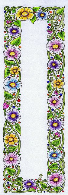 Floral border – World of Flowers Ribbon Embroidery, Embroidery Patterns, Parchment Craft, Borders And Frames, Doodles Zentangles, Flower Doodles, Floral Border, Copics, Pics Art