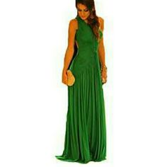 Maxi dress Women's Solid Green Dress , Party Off Shoulder Sleeveless Pleated/Backless Rose Dresses Maxi