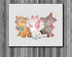 Aristocats DISNEY Watercolor Print  Instant Download Printable You'll receive an 8x10 inch printable INSTANT DOWNLOAD of a wonderfully creative