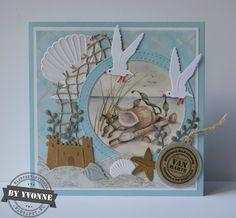 Ook hier in het zuiden van ons land is de vakantie weer voorbij. En ook het challenge-blog van Marianne Design is weer van start gegaan.... Nautical Cards, Nautical Theme, Masculine Birthday Cards, Masculine Cards, Marianne Design Cards, Art Journal Prompts, Beach Cards, Sea Theme, Bird Cards