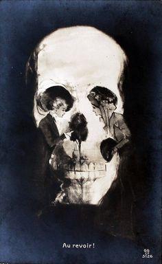 """Antique Skull Optical Illusion Postcard   """"Au revoir!"""" circa 1905-1910"""