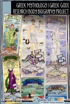 Greek Gods, Greek Mythology Body Biography Project Bundle For Print and Digital - Study All Knight Art History Timeline, Art History Major, Greek History, Ancient History, History Photos, Black History, World History Facts, World History Lessons, History Memes