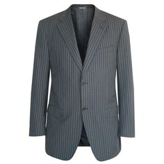 CANALI $1,295 gray & blue striped wool sportcoat canvased blazer jacket 44/54 8L #Canali #TwoButton