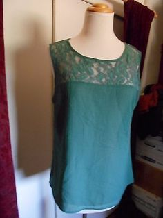 NWOT...Coldwater Creek Womens Green w/Lace Embellishment Sleeveless Top