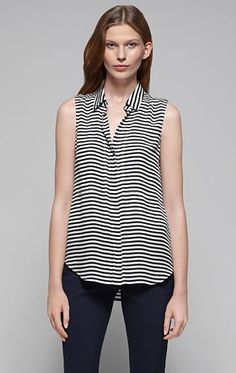 Women's Top - Duria Striped Silk Blouse - Theory.com