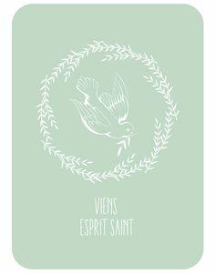 Carte Viens_Esprit_Saint_carte_postale Catho Rétro kit baptême