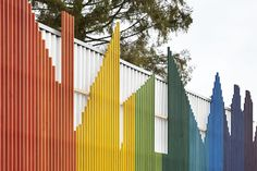 Prestwood designed by De Rosee Sa | colourful slatted facade