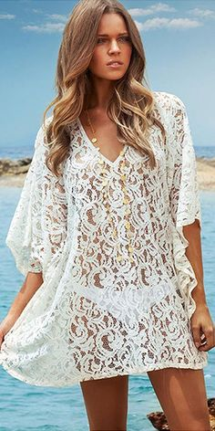 Sexy Bat Sleeve Hollow Out Crochet Lace Smock