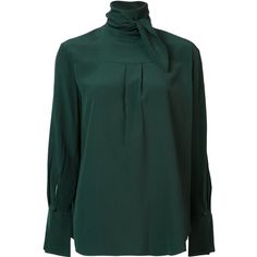 Chloé scarf detail blouse ($761) ❤ liked on Polyvore featuring tops, blouses, green, green top, green silk blouse, keyhole blouse, green long sleeve blouse and keyhole top