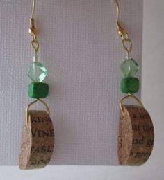 Recycled Wine Cork Earrings by DLightsCreations on Etsy