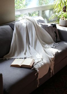 Wrap yourself in this premium, thick and cozy 100% certified ORGANIC cotton tuck knit Blanket / Shawl / Throw / Wrap in PURE WHITE color - pure,