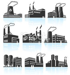 Factory Buildings black & white royalty free vector icon set Royalty Free Stock Vector Art Illustration
