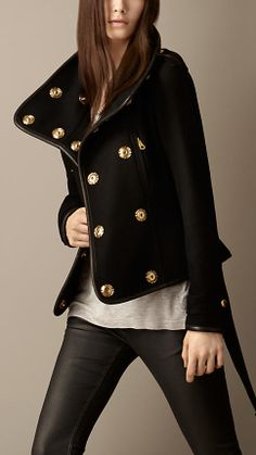 Cape with leather trim   Burberry