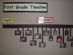 Take pictures of students doing activities throughout the year. Print and put on a timeline in the classroom. Great idea!