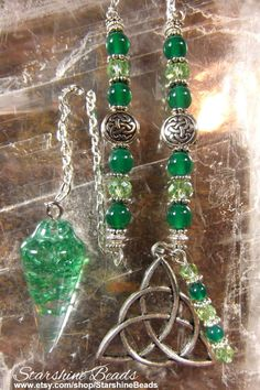 Green Crystal Triquetra Pendulum  Celtic by StarshineBeads on Etsy