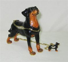 Black and Brown Rottweiler Dog Jeweled Hinged Trinket Box with miniature Rottweiler Pendant on a gold toned chain style necklace and includes a satin lined gift box.  $38.95