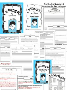 Wonder by R.J. Palacio Novel Study EVERYTHING you need. Chapter Questions, Vocabulary, Writing Activities, Bulletin Board Idea, and MORE!!!! $ Grades 5-7