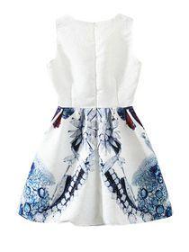 Symmetric Print O-Neck Sleeveless Bubble Dress img