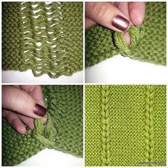 Dropped and re-knit stitch texture Knitting Stitches, Knitting Designs, Knitting Patterns Free, Knit Patterns, Free Knitting, Knitting Projects, Stitch Patterns, Knitting Machine, Free Pattern