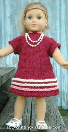 #Free Pattern; knit; 18 inch doll; American Girl;  Raglan Banded Dress  ~~