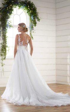 D2183 Unique Asymmetrical Neckline Wedding Dress by Essense of Australia