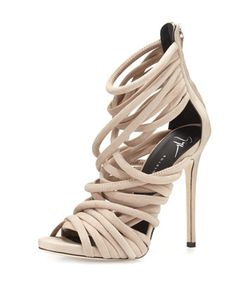 Strappy+Suede+110mm+Sandal,+Blush+by+Giuseppe+Zanotti+at+Neiman+Marcus.