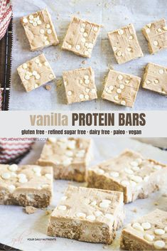Healthy Protien Bars, Homemade Protein Bars, Sugar Free Protein Bars, Paleo Protein Snacks, No Bake Protein Bars, Paleo Bars, Healthy Protein Snacks, Protein Bar Recipes, Protein Desserts