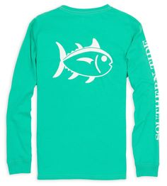 Southern Tide Long Sleeve Outlined Skipjack Tee- Tropical Palm