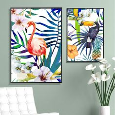 Tropical Jungle Flamingo & Parrot Canvas Print, Wall Art, Poster, Airbnb Home Decor. Sofa / Cafe / Office / Hotel Painting, Housewarming Gift. 3pcs. Unframed.