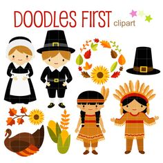 Thanksgiving Kids Digital Clip Art for Scrapbooking Card Making Cupcake Toppers Paper Crafts