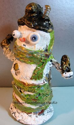 Whimsical Original OOAK Folk Art Snowman by Treasuresnwhimsy, $36.00
