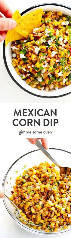 LOVE this Elote Dip recipe! It's quick and easy to make in about 15 minutes, naturally gluten-free, and full of all of those classic Mexican street corn ingredients we all love! And it can double as a salsa or topping for your tacos.   Gimme Some Oven #elote #mexican #corn #dip #salsa #appetizer