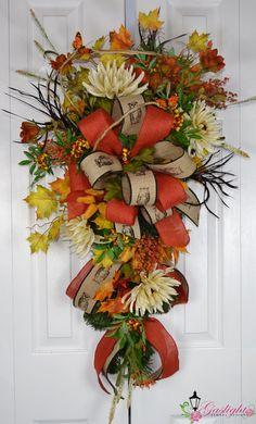 Autumn Fall Halloween Teardrop Swag by Gaslight Floral Design. Thanksgiving Wreaths, Autumn Wreaths, Holiday Wreaths, Wreath Fall, Fall Swags, Fall Deco Mesh, Autumn Crafts, Fall Flowers, Diy Wreath