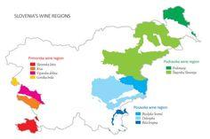 Wine growing regions of Slovenia Country Maps, Wine Country, Albania, Map Of Slovenia, Wine Vine, Home Wine Cellars, Wine Merchant, Wine Education, Vides