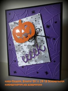 Karen's Stampin' Place – Linda Cappel Karen's Stampin' Place Karen's Stampin' Place Pumpkin Cards, Paper Pumpkin, Up Halloween, Halloween Cards, Fall Cards, Holiday Cards, Kids Cards, Greeting Cards Handmade, Making Ideas