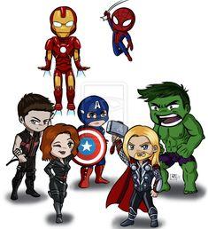 Avengers + spider-man © marvel just a group shot of all the chibis. Marvel Avengers Comics, Marvel Avengers Assemble, Avengers Quotes, Avengers Characters, Art Clipart, Cute Cartoon, Cartoon Art, Avengers Tattoo, Avengers Outfits