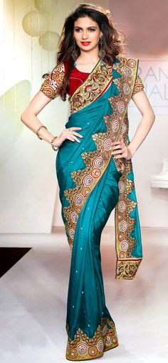 Cyan blue decorative border saree: KSR2555