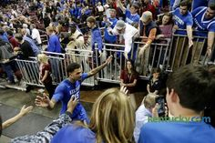 Kentucky fans at South Carolina 2015 | KentuckySports - Galleries | Kentucky.com. Willie giving high fives to fans. <3
