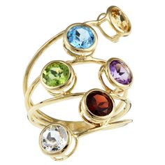 Multy Gemstone Ring in Gold Plated silver