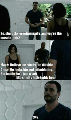 """Believe me, she's the muscle"" - Daisy, Mack and Joey #AgentsOfSHIELD"