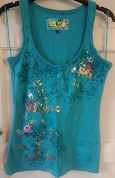 ac3f847db7f Next Teal Blue Flowery Vest Top Size 6  fashion  clothes  shoes  accessories