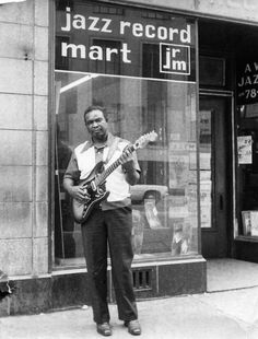 "Blues musician David ""Honeyboy"" Edwards, who performed with everyone from Charley Patton and Robert Johnson to Howlin' Wolf and Muddy Waters, at the Jazz Record Mart in Chicago, ca. 1972."