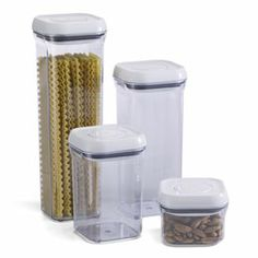 I am in love with these oxo pop canisters. They keep my pantry so organized and they keep the food fresh!