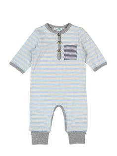 A sweet baby boy romper by Mini a Ture in a cream and blue stripe with a grey trim and contrasting navy blue and cream material for the pocket and the lining.
