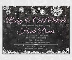 Holiday baby shower invitation. Baby its cold outside. Chalkboard christmas snowflake baby shower invitation. Printable. Made to order.