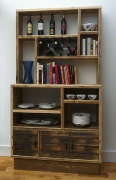 FANTASTIC RECLAIMED SCAFFOLD BOARD SHELVING UNIT WITH WINE RACK - RELIC INTERIORS