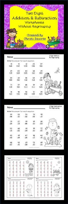 Two Digit Addition & Subtraction Worksheets Without Regrouping   This is a set of 20 Worksheets designed to give your students additional practice adding and subtracting two digit numbers together without regrouping. I have included answer sheets for all the worksheets.   10 Worksheets of addition.  10 Worksheets of subtraction. Gr. 1st-2nd  $